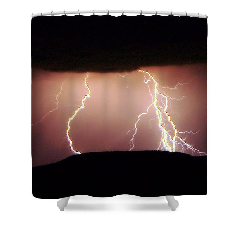 Lightning Shower Curtain featuring the photograph Lightning Walking by Jeff Swan