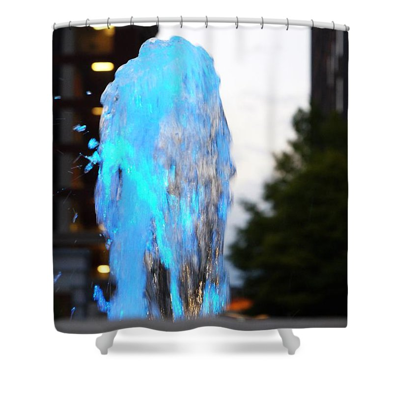 Baby Blue Shower Curtain featuring the photograph Lights In The City by Jannice Walker