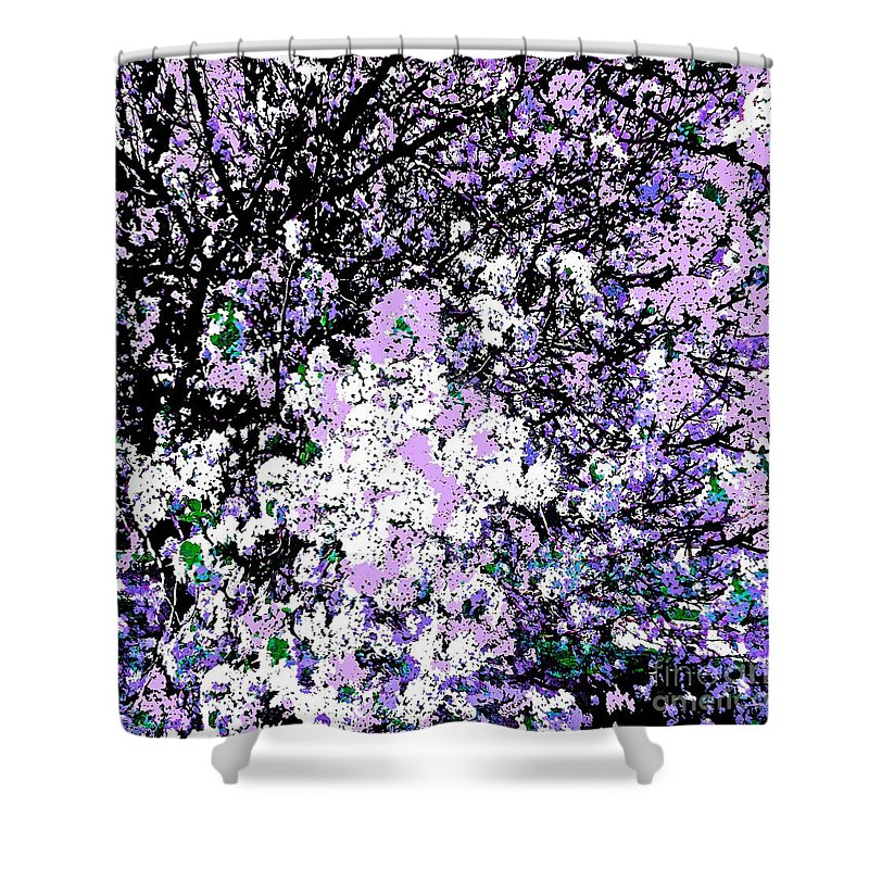 Lilac Crepe Myrtle Bloom Shower Curtain featuring the photograph Lilac Crepe Myrtle Bloom by Saundra Myles