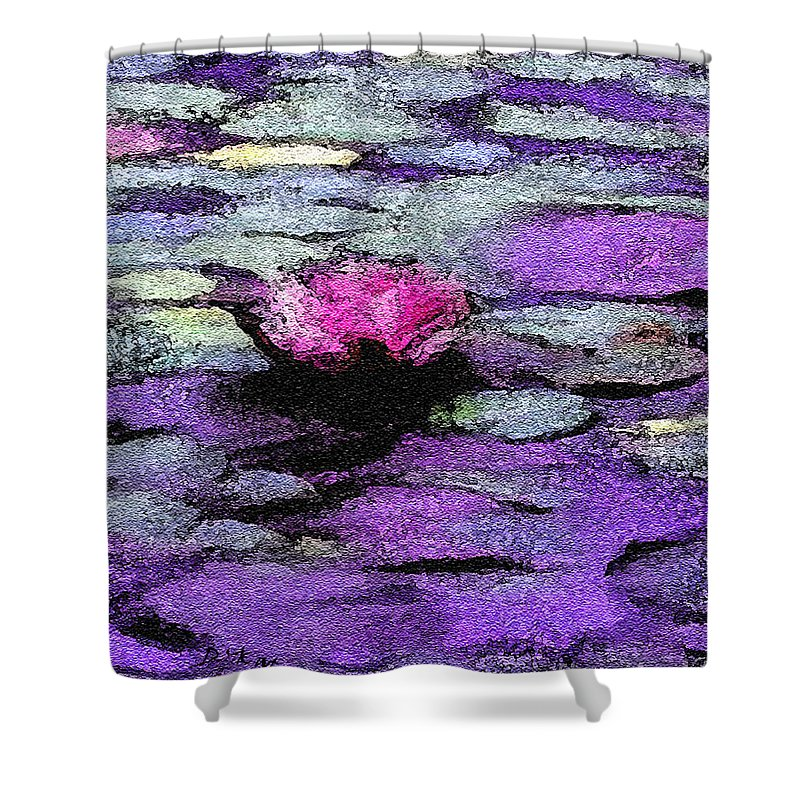 Lilac Shower Curtain featuring the painting Lilac Lily Pond by Kat Solinsky