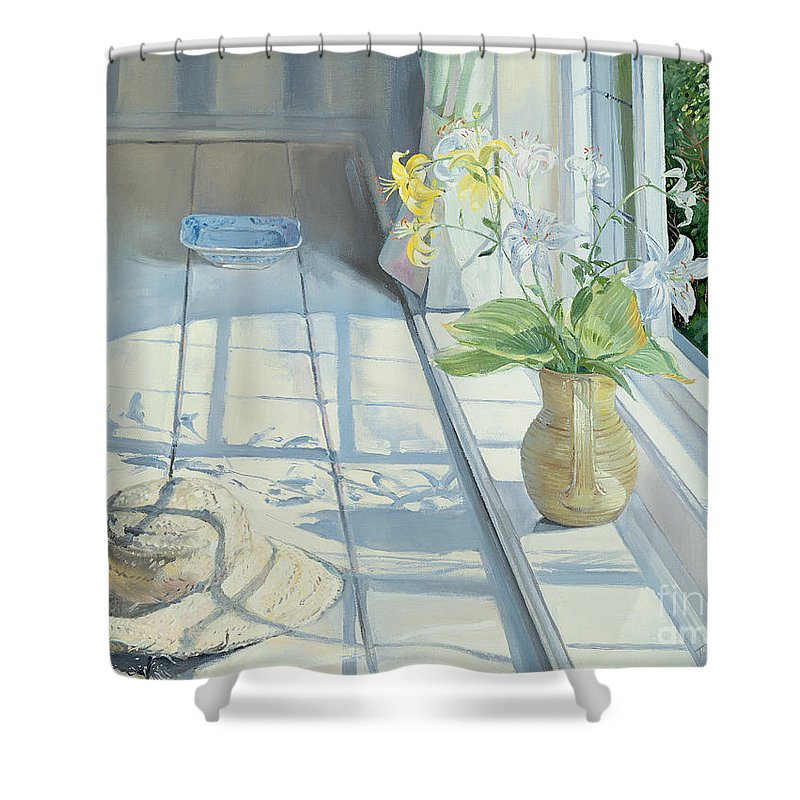 Window Shower Curtain featuring the painting Lilies And A Straw Hat by Timothy Easton