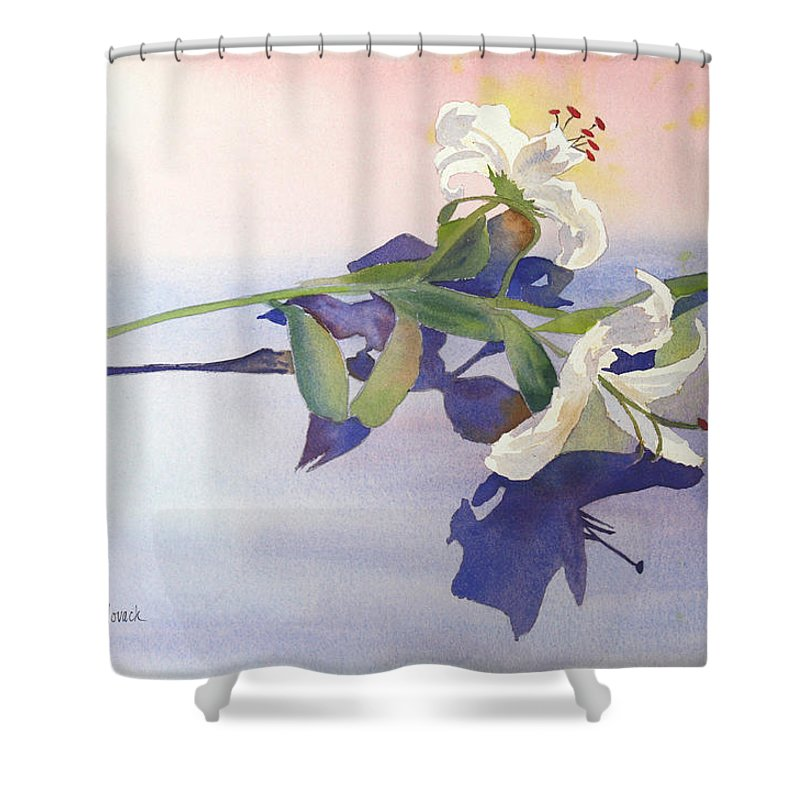 Lily Shower Curtain featuring the painting Lilies At Rest by Patricia Novack