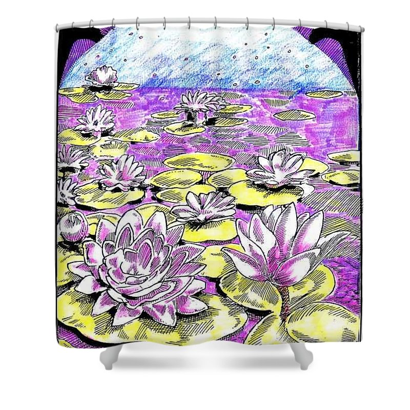 Lilies Of The Lake Shower Curtain featuring the drawing Lilies Of The Lake by Seth Weaver