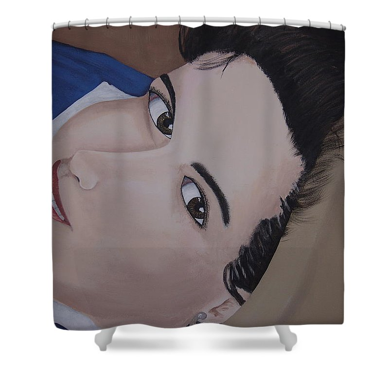 Portrait Shower Curtain featuring the painting Lilly by Dean Stephens