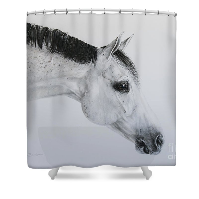 Grey Shower Curtain featuring the pastel Lilly by Joni Beinborn