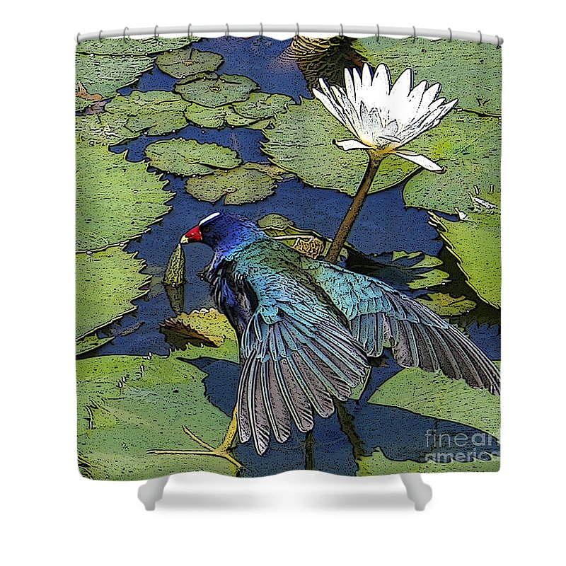 #lily #exoticbird #puntacana #dominicanrepublic #nature Shower Curtain featuring the digital art Lily Pad With Bird by Jacquelinemari