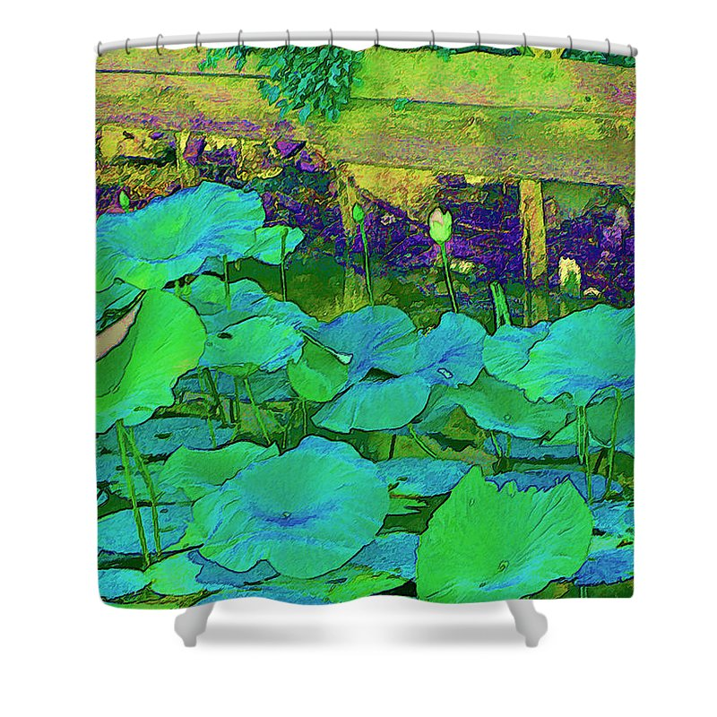 Lily Pads Shower Curtain featuring the digital art Lily Pads by Bonnie Willis