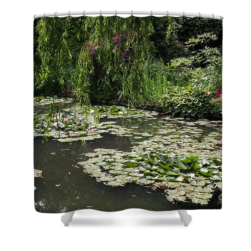 Lilies Shower Curtain featuring the photograph Lily Pads Monets Garden by Christiane Schulze Art And Photography