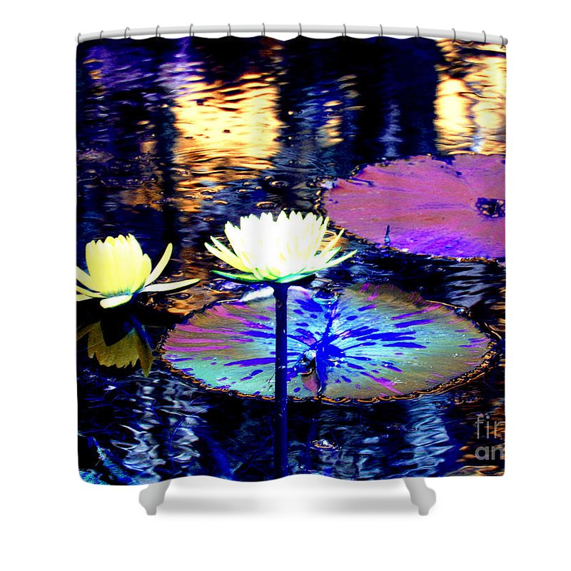 Lily Pond Fantasy Shower Curtain featuring the photograph Lily Pond Fantasy by Anita Lewis