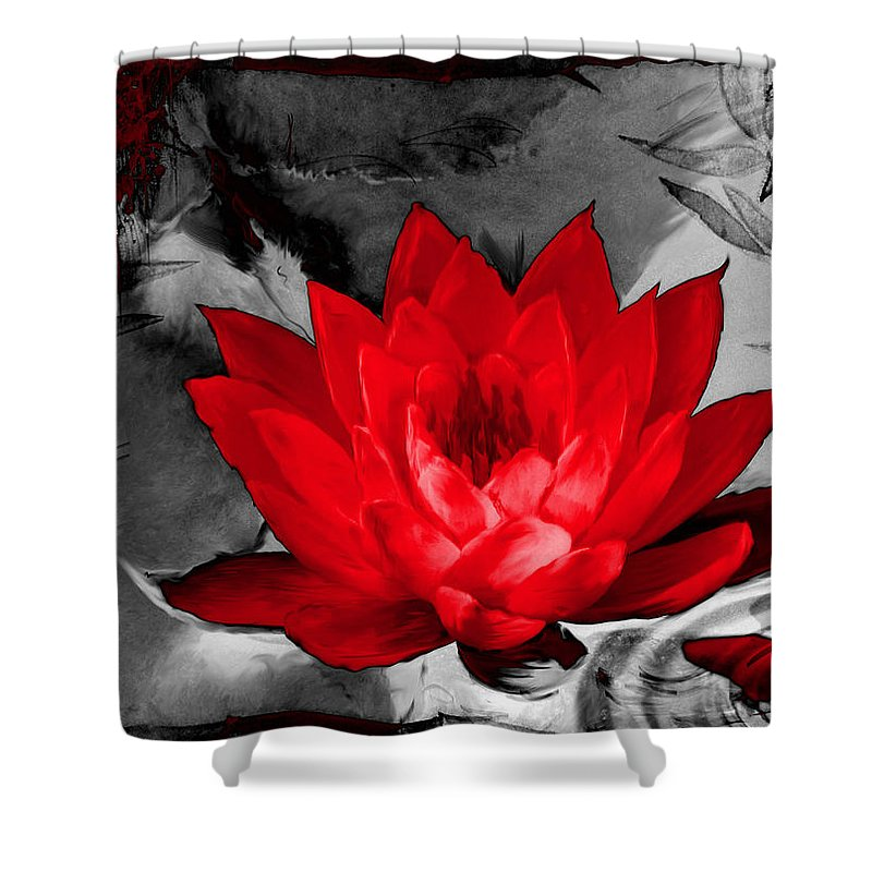 Lily Shower Curtain featuring the photograph Lily Red And Koi by Shannon Story