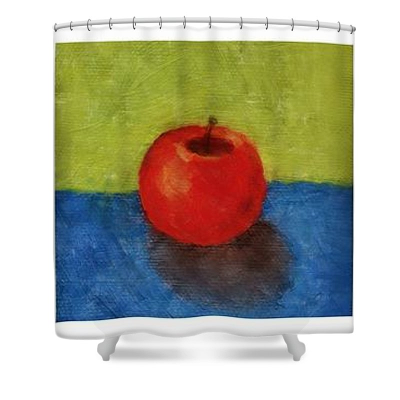 Lime Shower Curtain featuring the painting Lime Apple Lemon by Michelle Calkins
