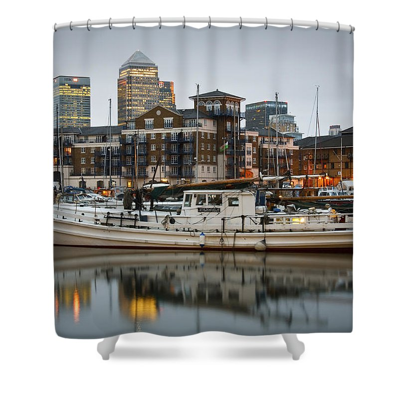 Europe Shower Curtain featuring the photograph Limehouse Basin. by Milan Gonda