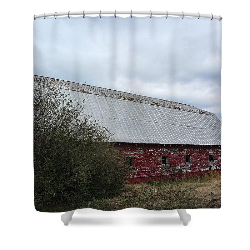 Red Shower Curtain featuring the photograph Limestone County Red Barn by Kathy Clark