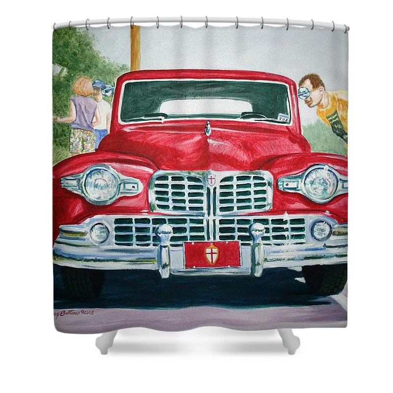 Transportation Shower Curtain featuring the painting Lincoln In Red by Stacy C Bottoms