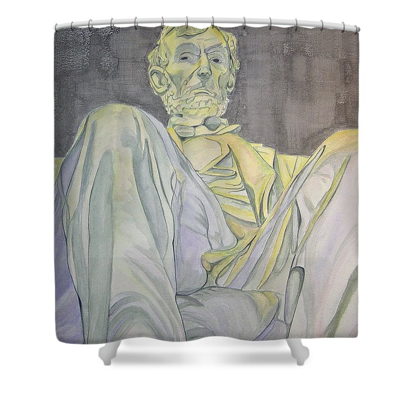 Presidents Shower Curtain featuring the painting Lincoln by Regan J Smith