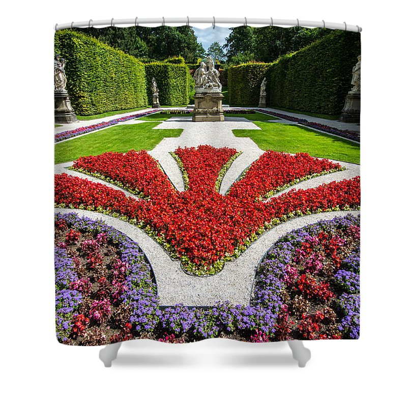 Linderhof Shower Curtain featuring the photograph Linderhof Palace Gardens - Bavaria - Germany by Gary Whitton