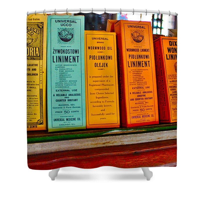 Liniments Shower Curtain featuring the photograph Liniments From 1864 by Janice Pariza