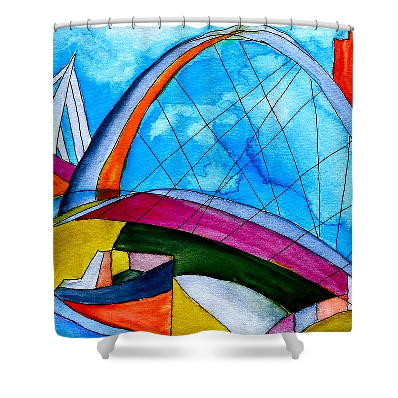 Bridge Shower Curtain featuring the painting Linking by Beverley Harper Tinsley
