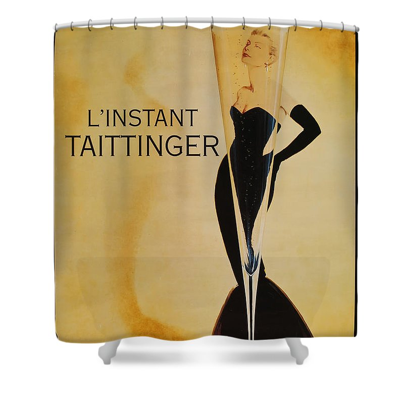 L'instant Taittanger Shower Curtain featuring the digital art L'Instant Taittinger by Georgia Fowler