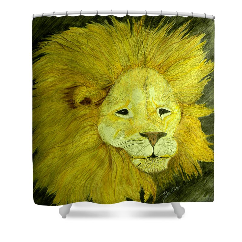 Lion Shower Curtain featuring the painting Lion by Bertie Edwards