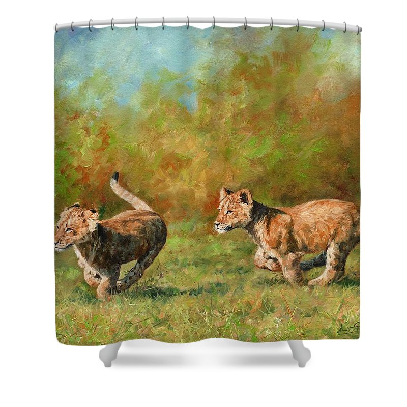 Lion Cubs Shower Curtain Featuring The Painting Running By David Stribbling