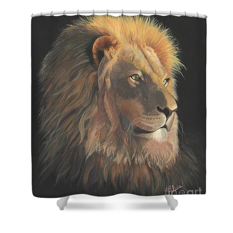 Lion Shower Curtain Featuring The Painting Of Judah By Alicia Fowler