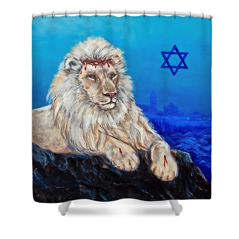 Lion Shower Curtain featuring the painting Lion Of Judah Before Jeruselum by Bob and Nadine Johnston
