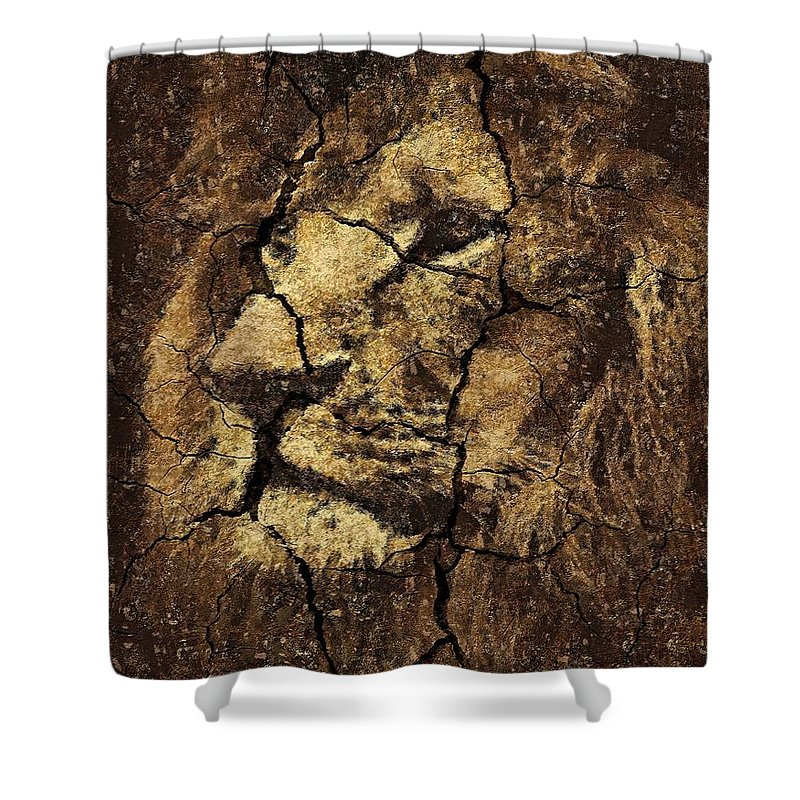 Portrait Shower Curtain featuring the drawing Lion -wall Art by Dragica Micki Fortuna