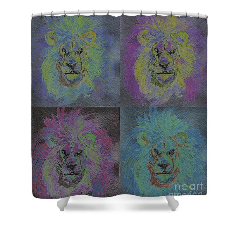 First Star Art Shower Curtain featuring the painting Lion X 4 Color By Jrr by First Star Art