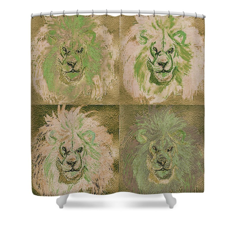 Lion Shower Curtain featuring the painting Lion X 4 One by First Star Art