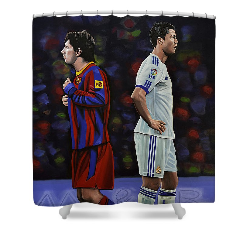 Lionel Messi Shower Curtain featuring the painting Lionel Messi and Cristiano Ronaldo by Paul Meijering