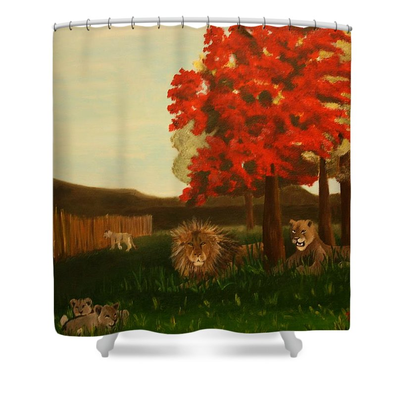Lions Shower Curtain featuring the painting Lions In Wisconsin by Erin Nessler
