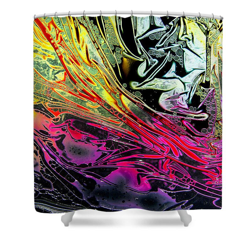 Surrealism Shower Curtain featuring the digital art Liquid Decalcomaniac Desires 1 by Otto Rapp