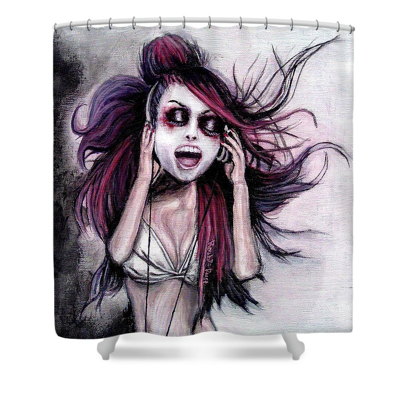 Music Shower Curtain featuring the painting Listen To Music by Rouble Rust