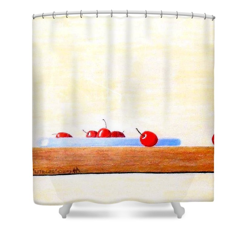 Cherries Shower Curtain featuring the painting Lite Life by A Robert Malcom