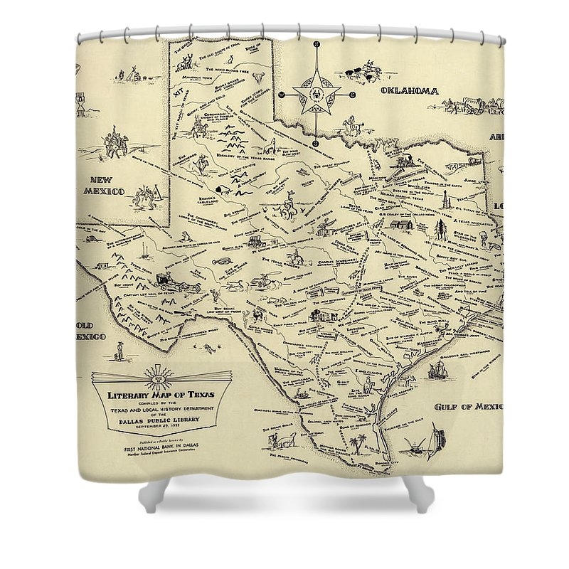 Texas Shower Curtain Featuring The Photograph Literary Map Of 1955 By Daniel Hagerman