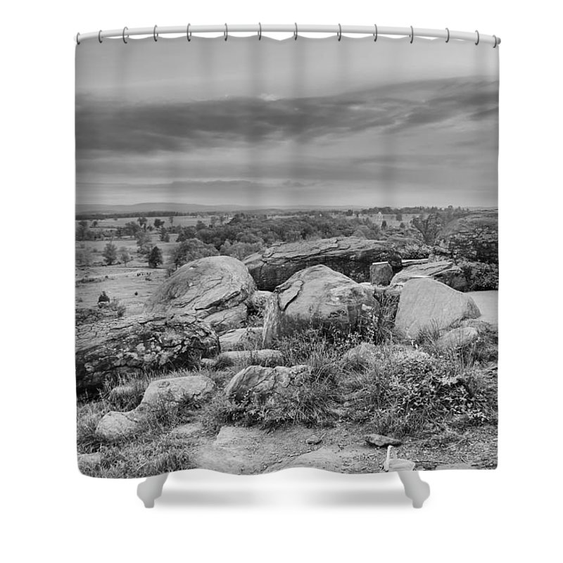 American Civil War Shower Curtain featuring the photograph Litle Round Top - Gouverneur Warren by Guy Whiteley