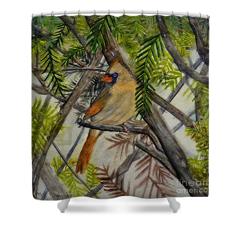 Cardinal Shower Curtain featuring the painting Little Birdie by Melly Terpening