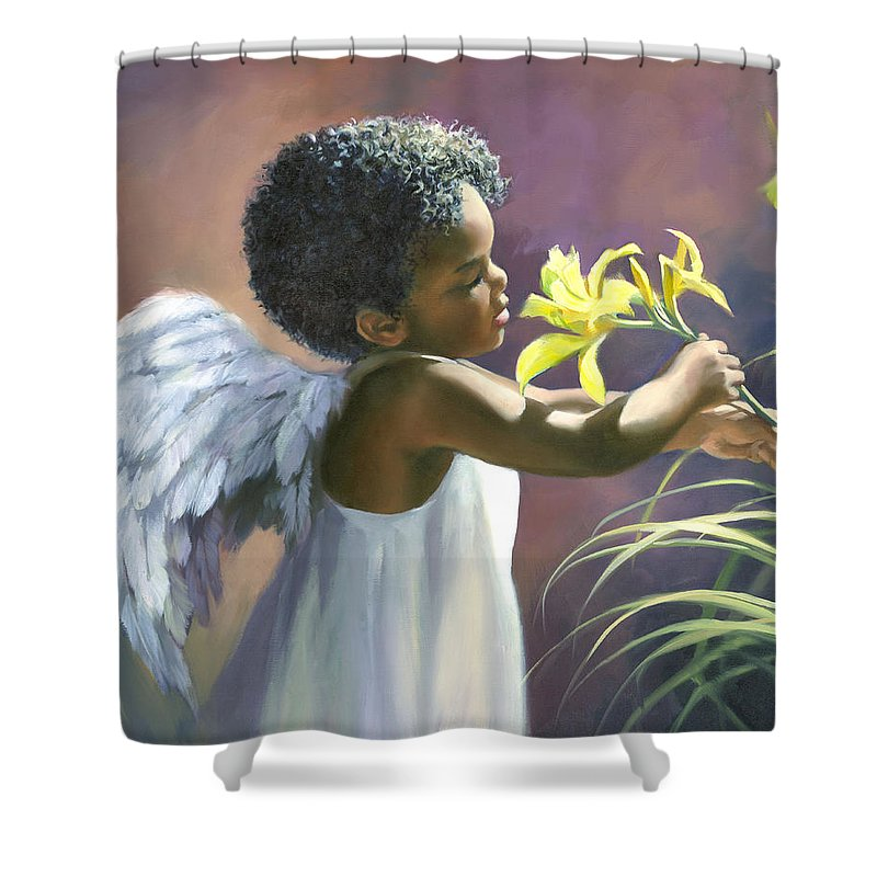 Little Black Angel Shower Curtain For Sale By Laurie Snow Hein