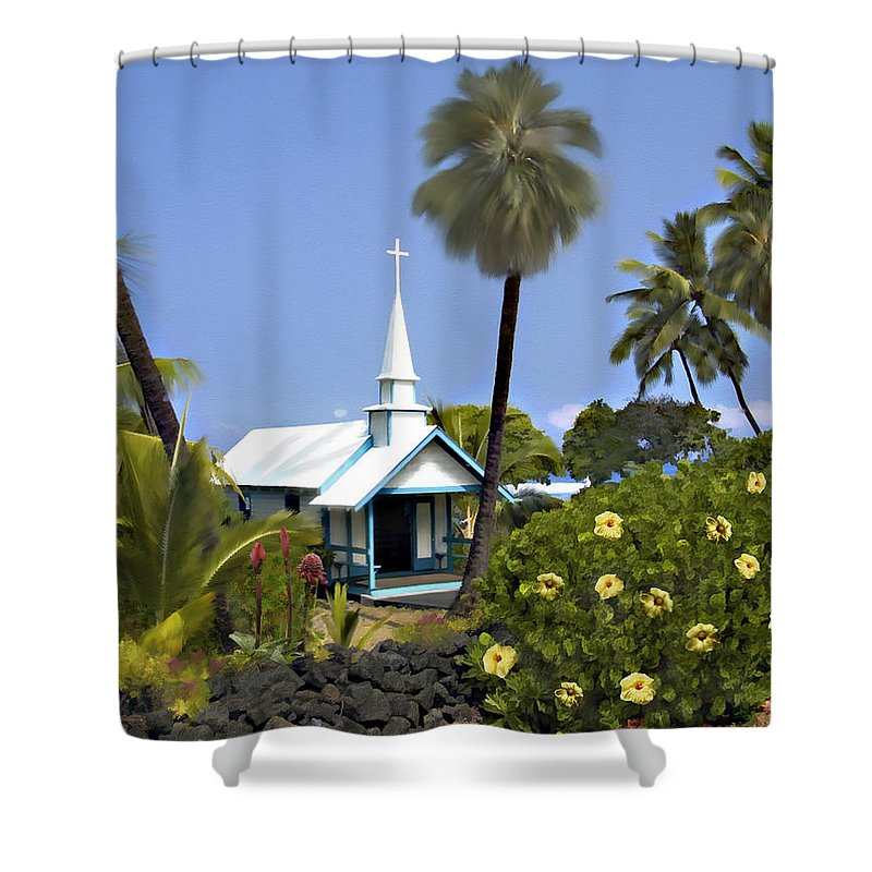 Hawaii Shower Curtain featuring the photograph Little Blue Church Kona by Kurt Van Wagner