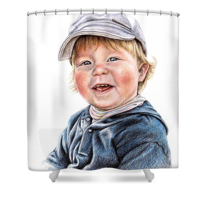 Boy Shower Curtain featuring the drawing Little Boy by Nicole Zeug