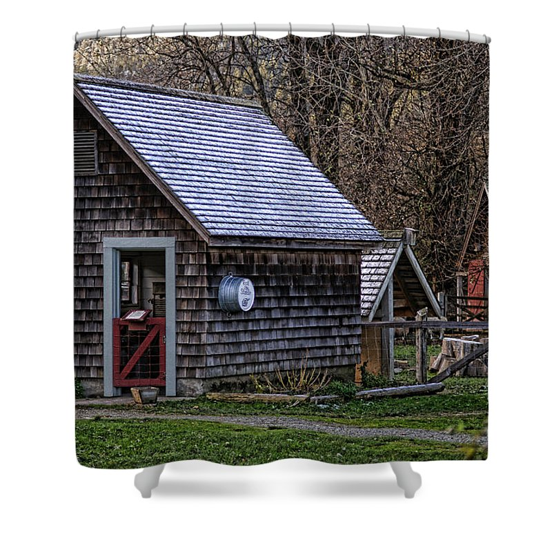 Buildings Shower Curtain featuring the photograph Little Cedar Shake Building by Randy Harris