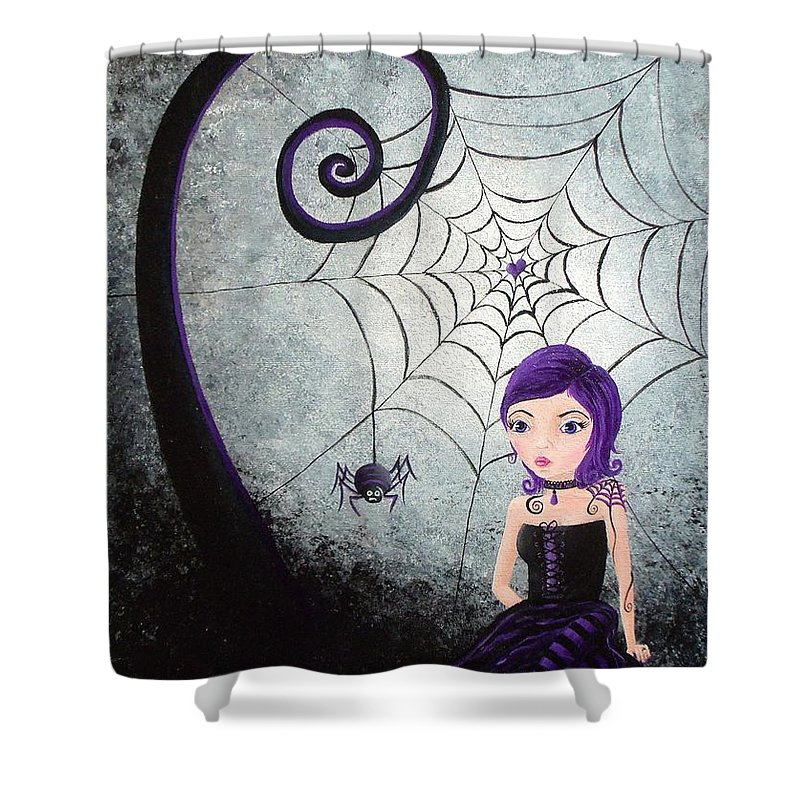 Little Miss Muffet Shower Curtain featuring the painting Little Miss Muffet by Oddball Art Co by Lizzy Love