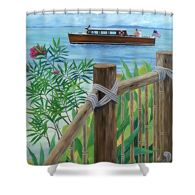 Island Shower Curtain featuring the painting Little Palm Island by Danielle Perry