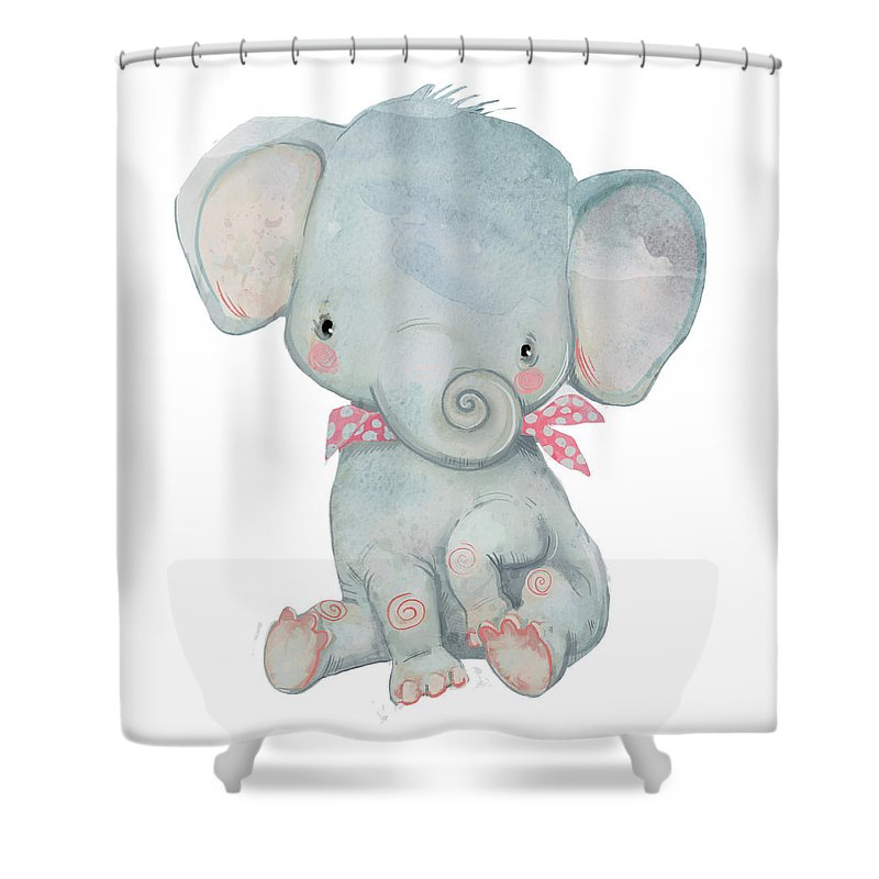 Watercolor Painting Shower Curtain featuring the digital art Little Pocket Elephant by Cofeee