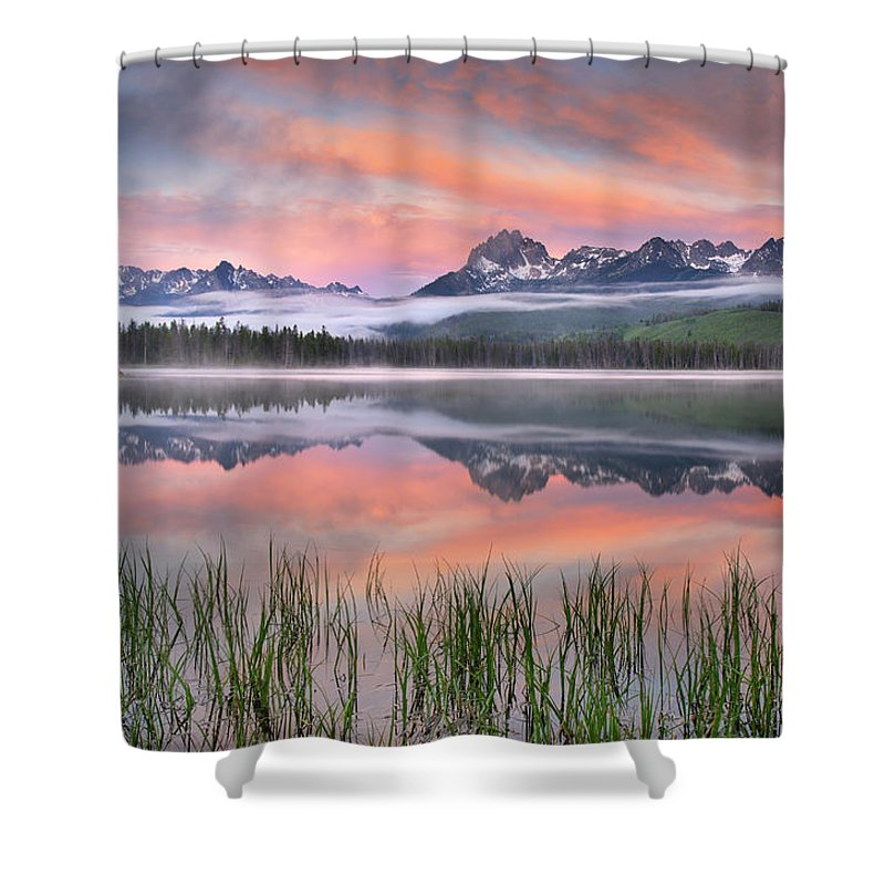 Scenics Shower Curtain featuring the photograph Little Redfish Lake, Sawtooth Mountains by Alan Majchrowicz