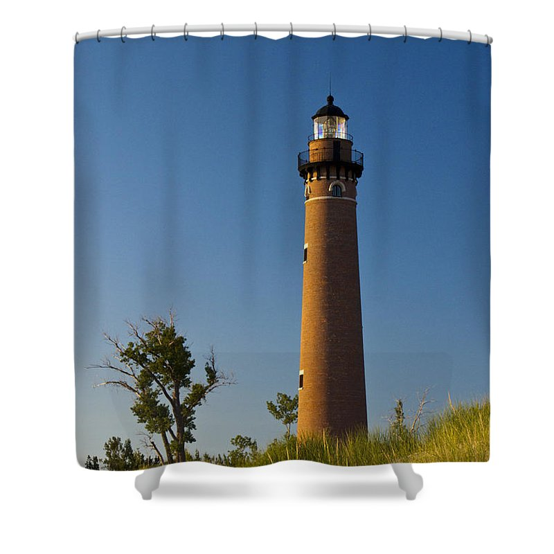Art Shower Curtain featuring the photograph Little Sable Lighthouse On The Dune By Silver Lake Michigan No.560 by Randall Nyhof