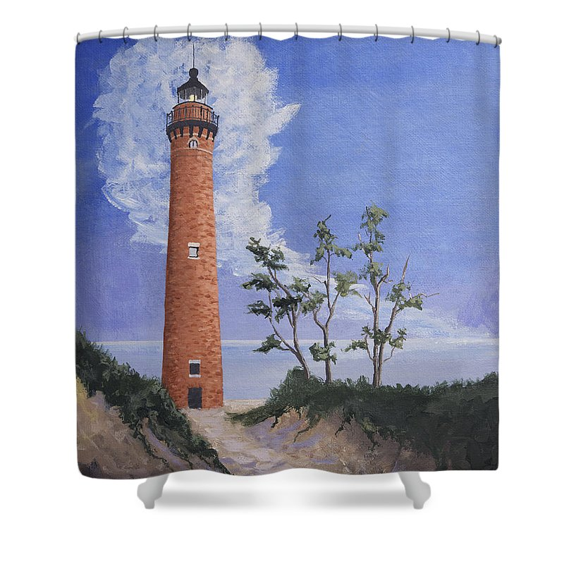 Sable Point Shower Curtain featuring the painting Little Sable Point Lighthouse by Jerry McElroy