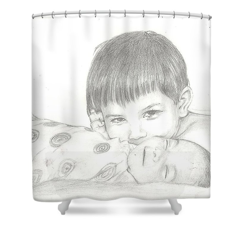 Shower Curtain featuring the drawing Little Sister by Hae Kim
