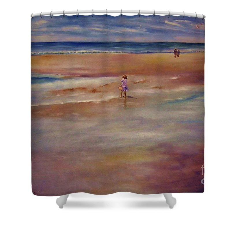 Child Shower Curtain featuring the painting Little Wanderer by Sandy Ryan